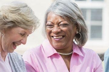 Older women talking and laughing