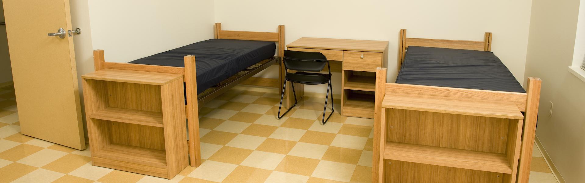 Empty college dorm room